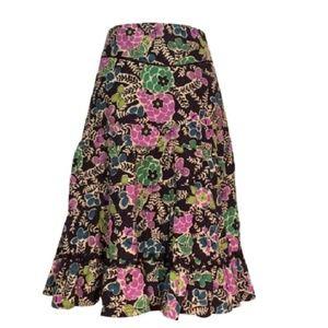 Anthropologie FEI corduroy floral skirt 6 REPAIRS